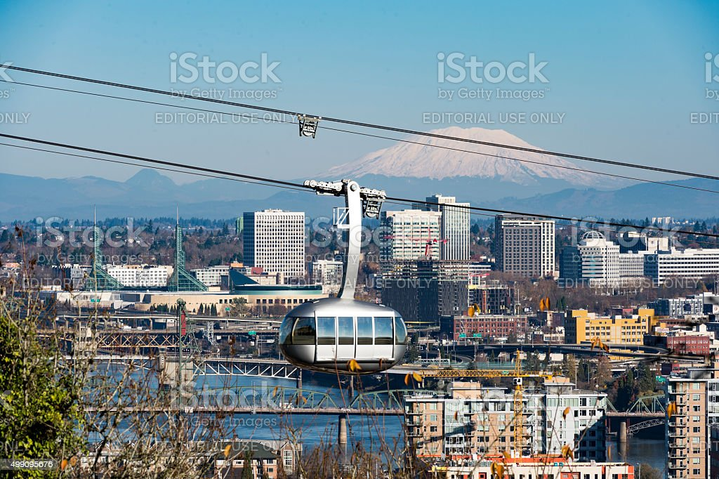 Tram Portland Oregon Mt St Helens Willamette River Bridges Downtown stock photo