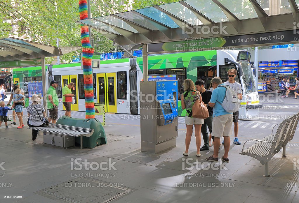 Tram public transport Melbourne Australia stock photo