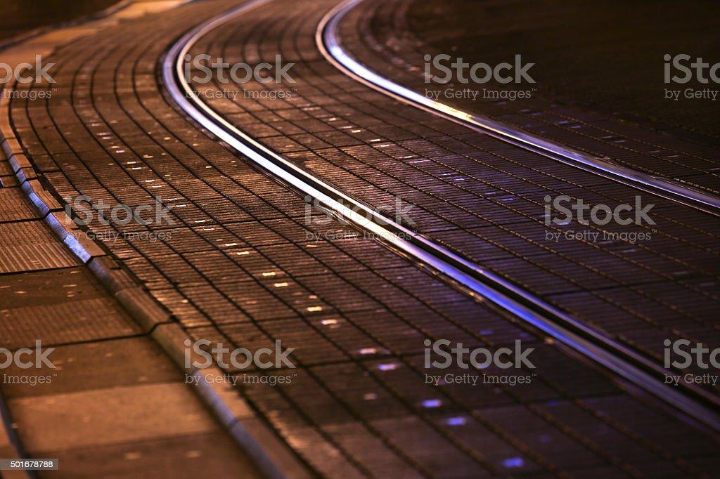 Tram rails in city stock photo