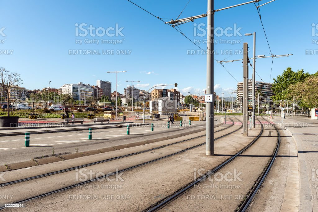 Tram rails on street of Barcelona town stock photo