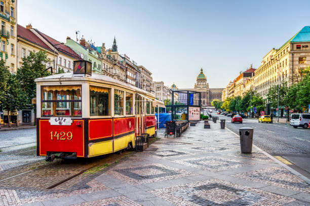 tram restaurant in Wenceslas Square in Prague. Czech republic 27 may 2018: tram restaurant in Wenceslas square in Prague at morning. Prague. Czech Republic wenceslas square stock pictures, royalty-free photos & images
