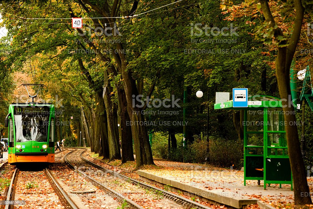 Tram Siemens Combino. Tramway in the colors of MPK Poznan. stock photo