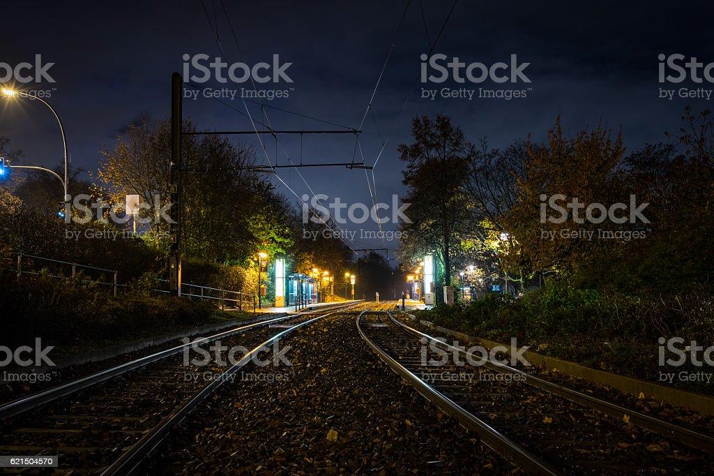 Tram station by night foto stock royalty-free