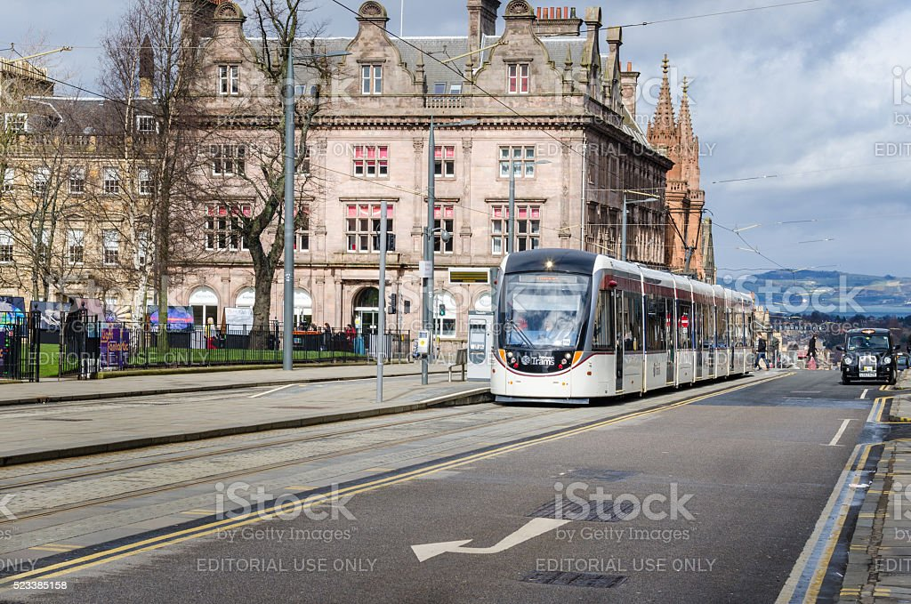 Tram Stop in Edinburgh stock photo