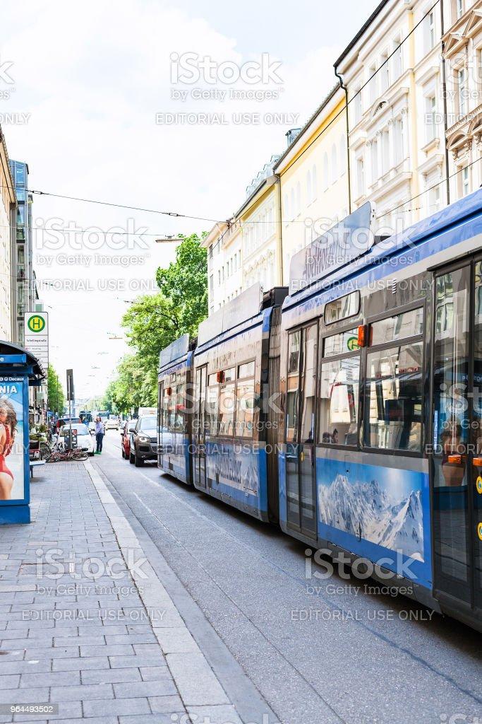 tram stop on Barer str in Munich city stock photo
