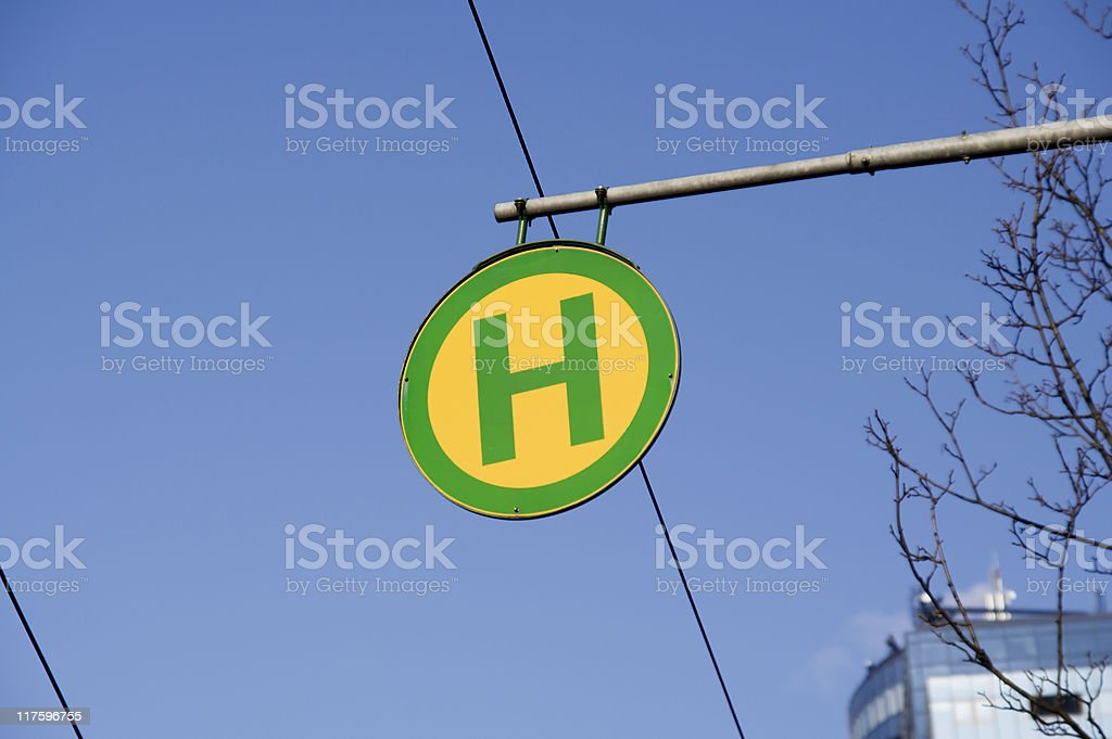 Tram Stop sign royalty-free stock photo