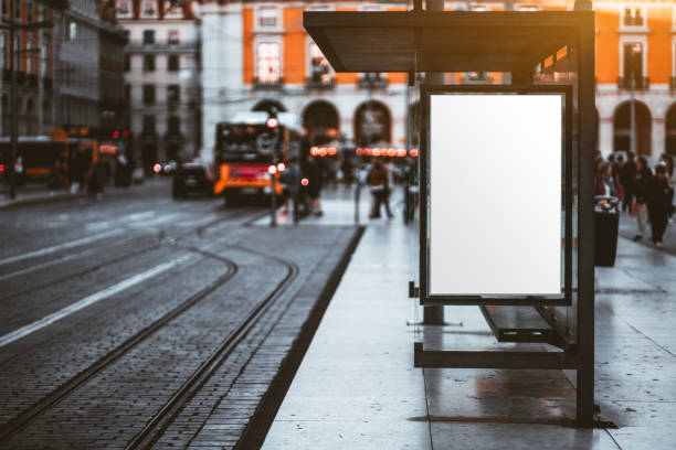 A tram stop with a billboard mock-up stock photo