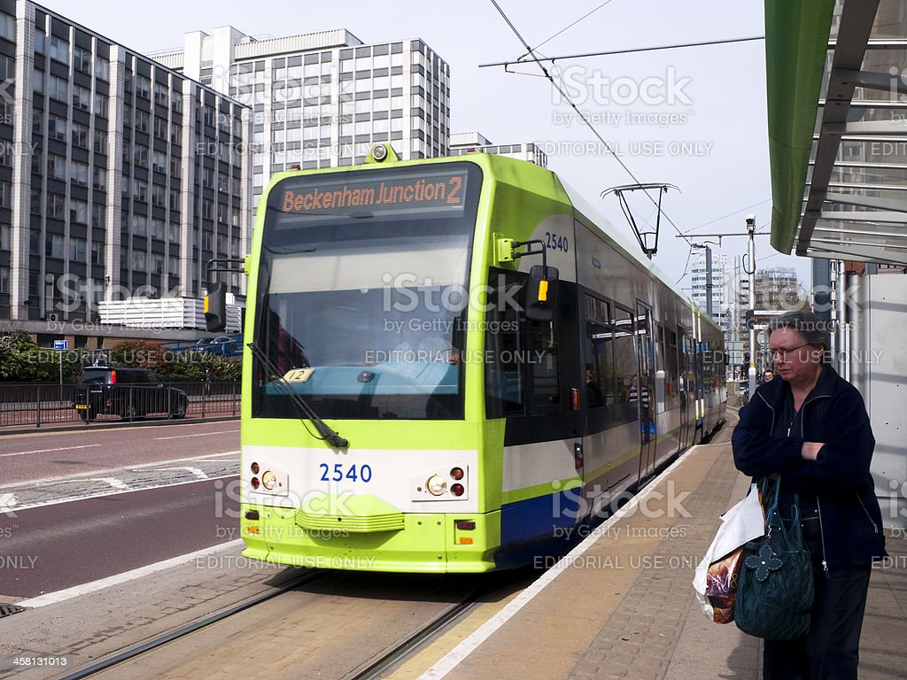 Tram stopping in Wellesley Road, Croydon royalty-free stock photo