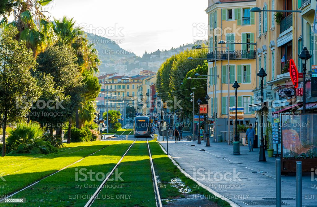 Tram Suburb of Nice, France stock photo