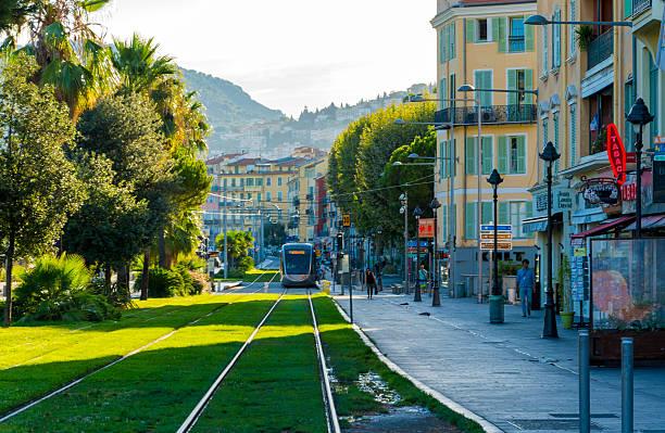 Tram Suburb of Nice, France stock photo