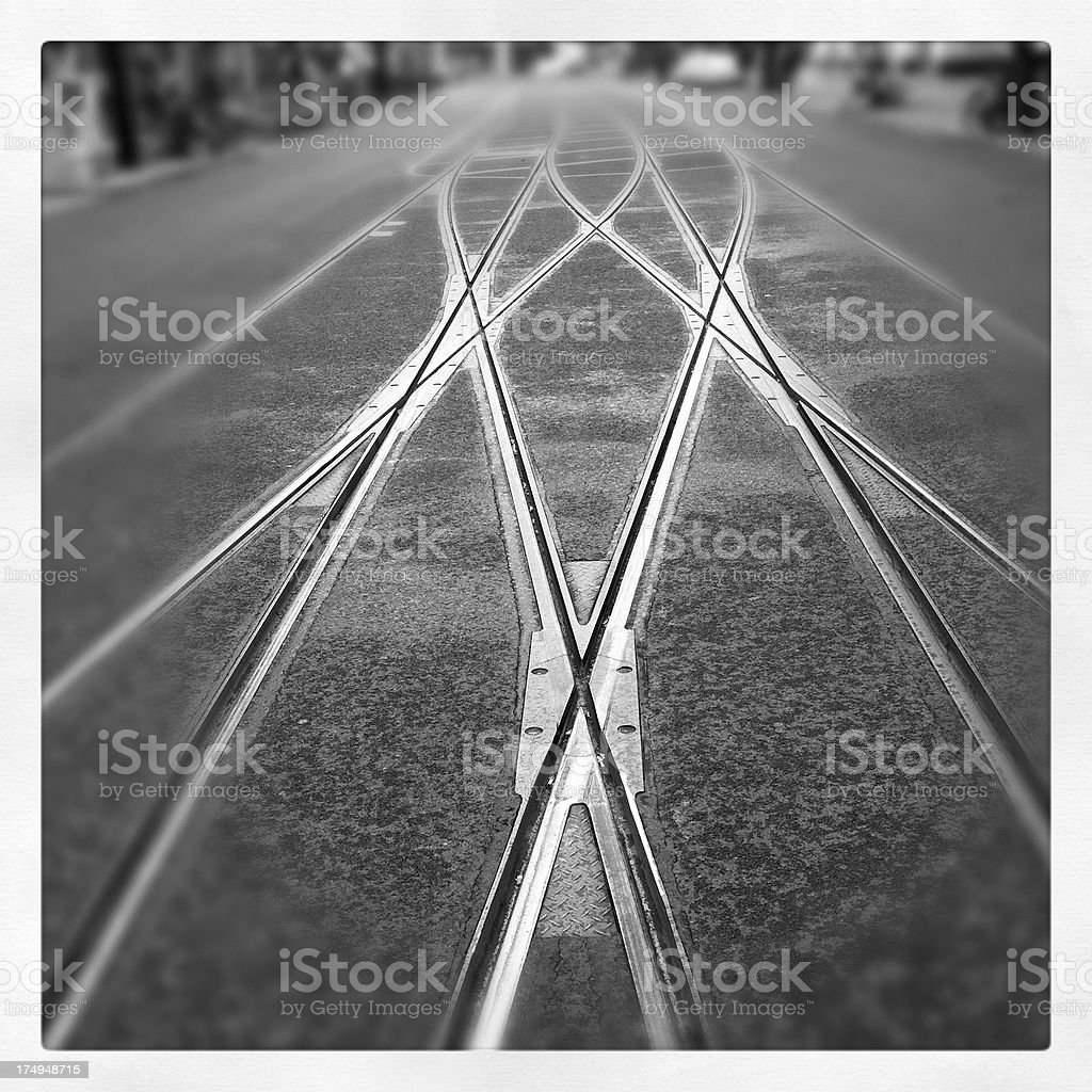 Tram track points in Berlin royalty-free stock photo