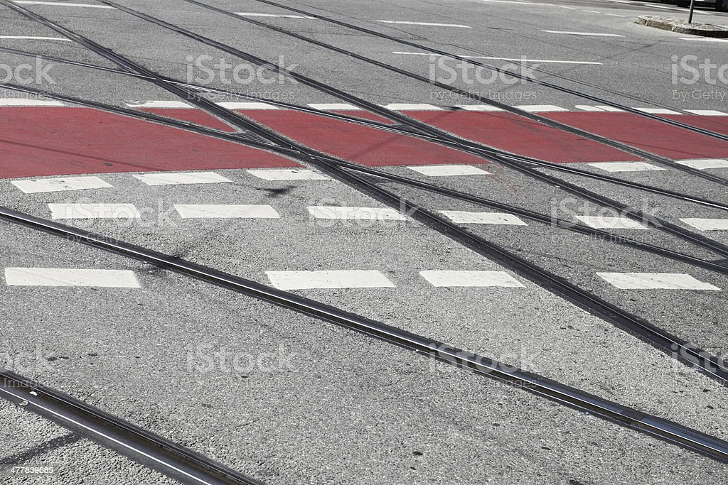 Tram tracks and road markings on the street royalty-free stock photo