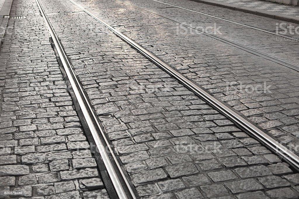Tram way on old cobblestone street zbiór zdjęć royalty-free