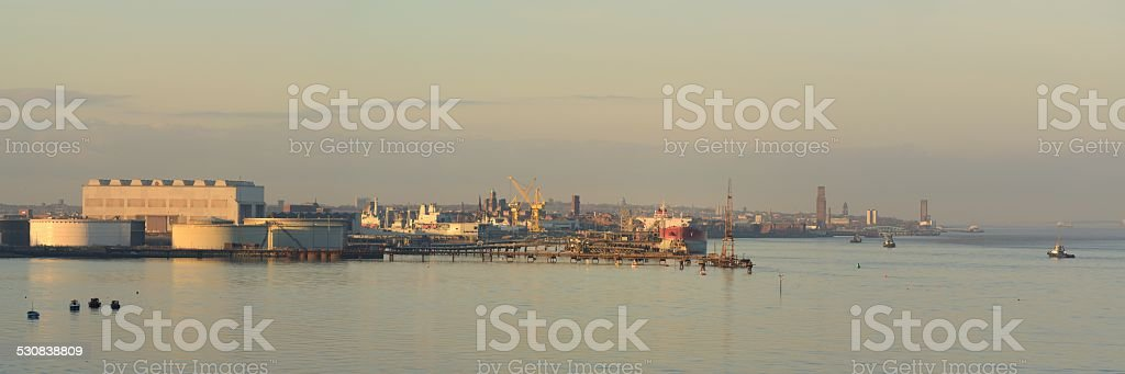 Tramere Oil Terminal and Cammell Laird Shipyard stock photo