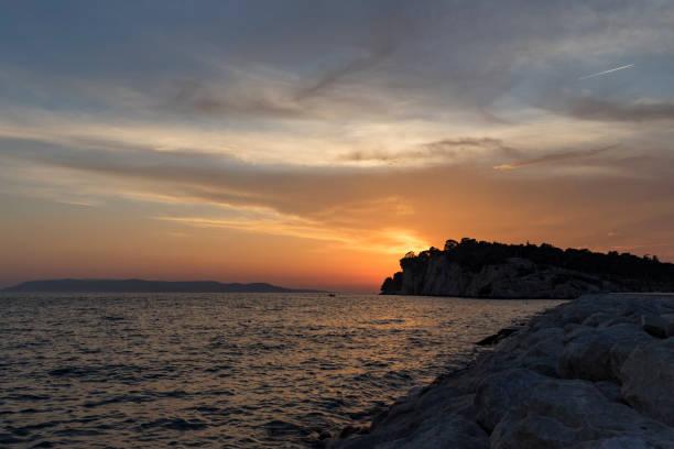 Tramonto a Makarska, Croazia - foto di stock immagine - foto stock