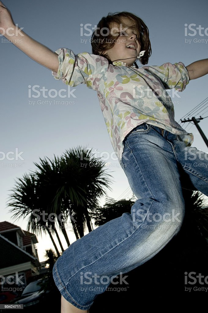 Trampoline Jumping Girl Series I royalty-free stock photo