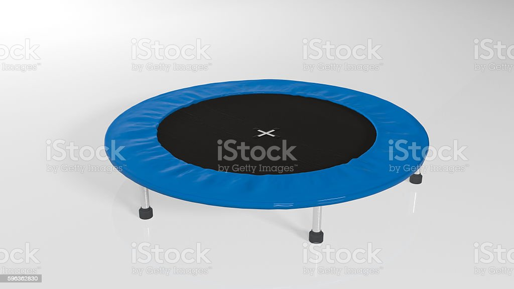 Trampoline, jumping sports equipment isolated on white background royalty-free stock photo