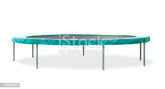 A weathered trampoline isolated on white