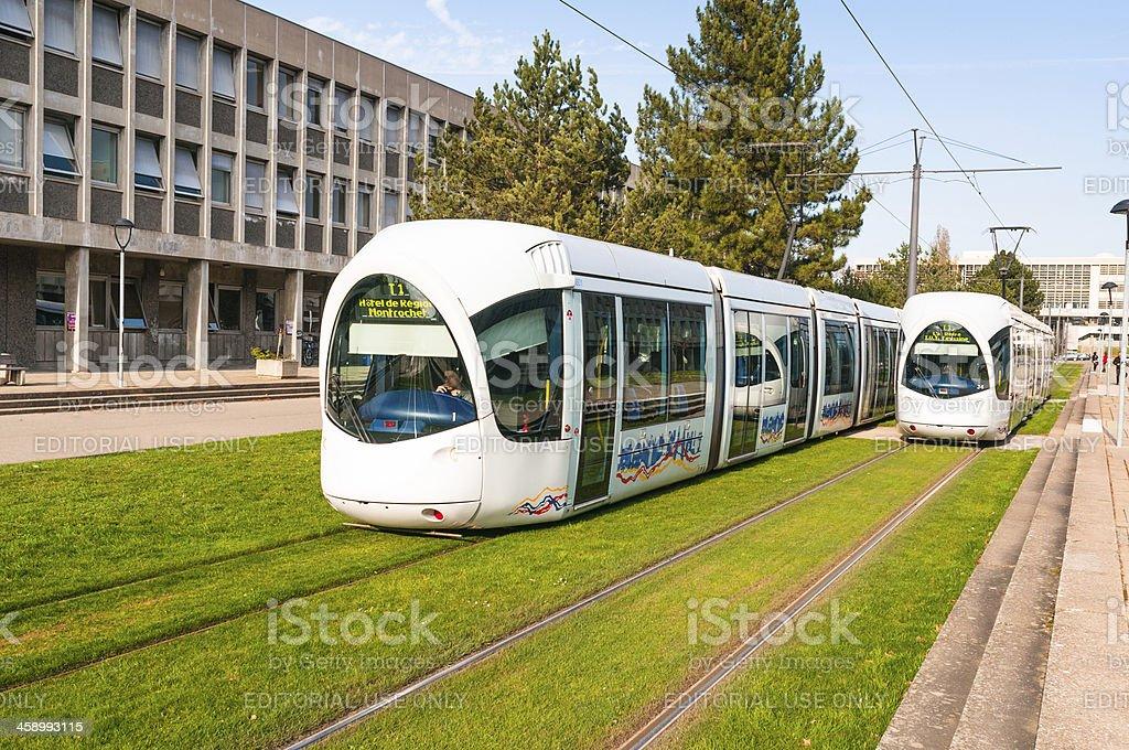Trams in Lyon, France stock photo