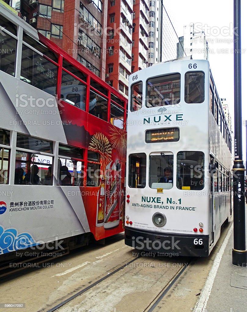 Trams in North Point, Hong Kong royalty-free stock photo
