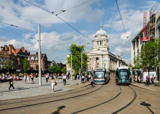 Trams in Old Market Square, Nottingham stock photo