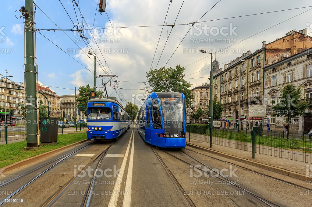 Trams in old part of Krakow at summer. stock photo