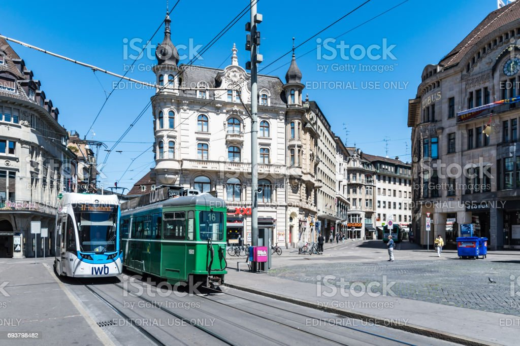 Trams in the centre of Basel, Switzerland stock photo