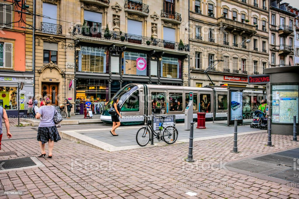 Trams in the city streets of Strasbourg, France stock photo