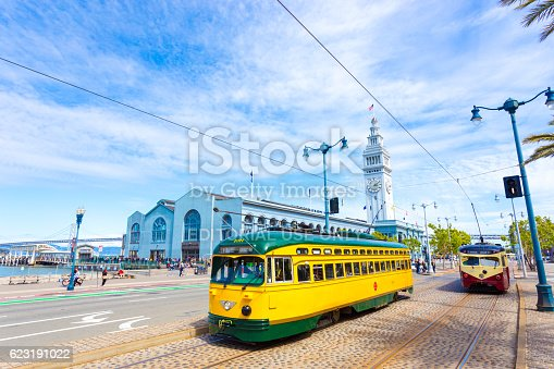 San Francisco, United States - May 23, 2016: Two vintage F market streetcars pass in front of Ferry Building on Embarcadero and Bay Bridge in background on a sunny, blue sky day
