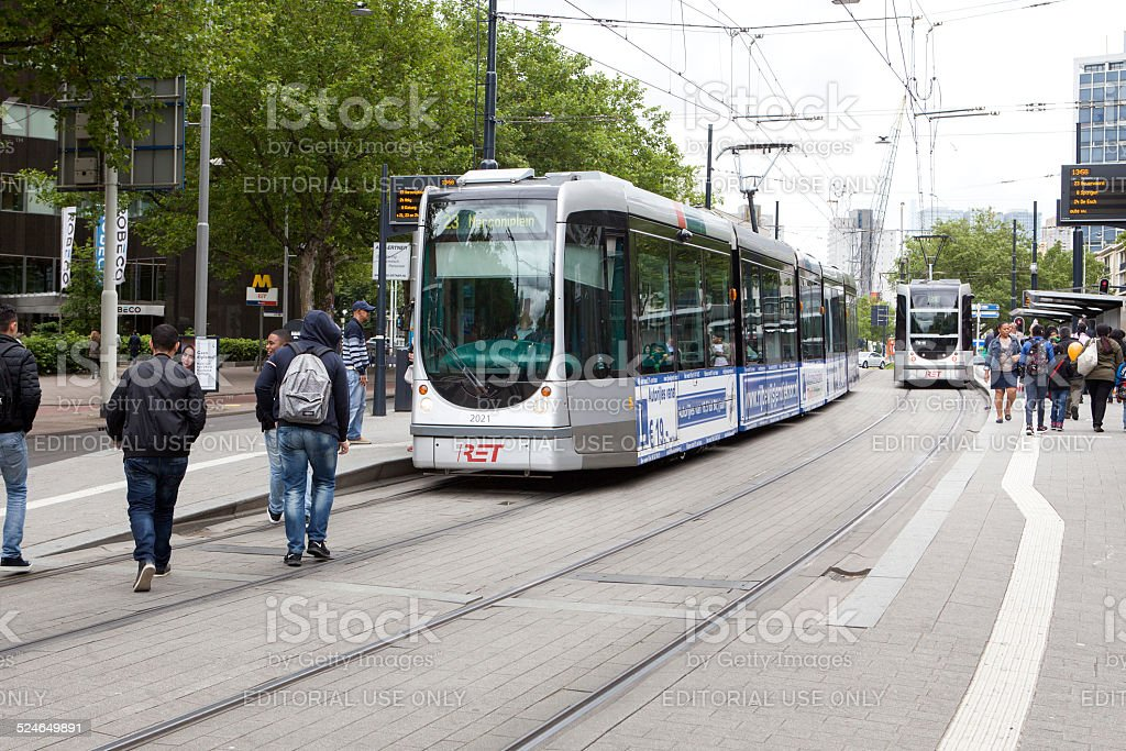 Tramstation Beurs, Rotterdam, The Netherlands stock photo