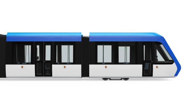 tram-train isolated - linea tranviaria foto e immagini stock