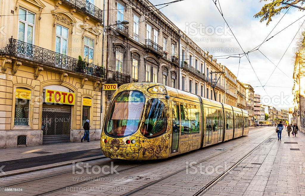 Tramway Alstom Citadis 402 in Montpellier, France stock photo