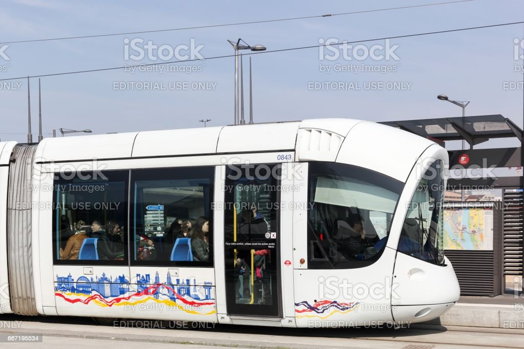 Tramway at Confluence station in Lyon, France stock photo