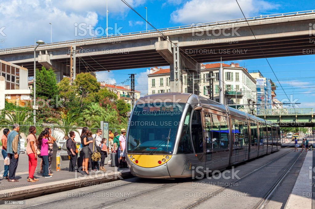 Tramway at the stop in Nice, France. stock photo