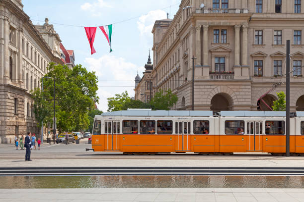 Tramway in Budapest stock photo