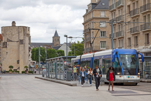 tramway in caen - caen stock pictures, royalty-free photos & images