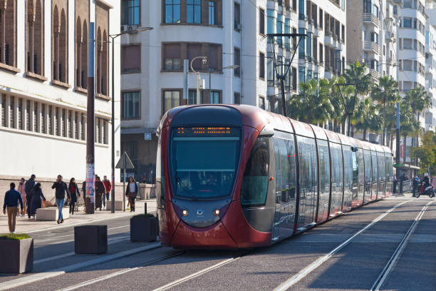 Tramway in Casablanca stock photo