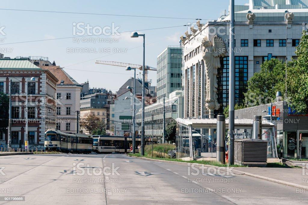 Tramway in Karlsplatz in Vienna stock photo