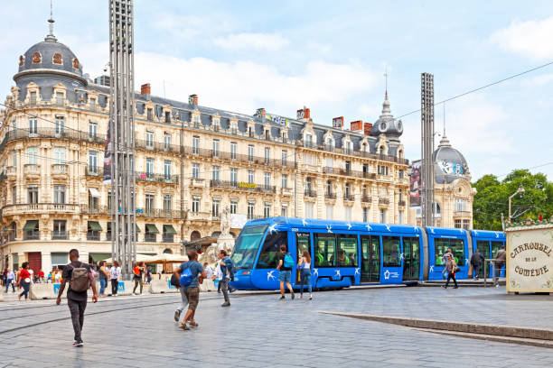 Tramway in Montpellier stock photo