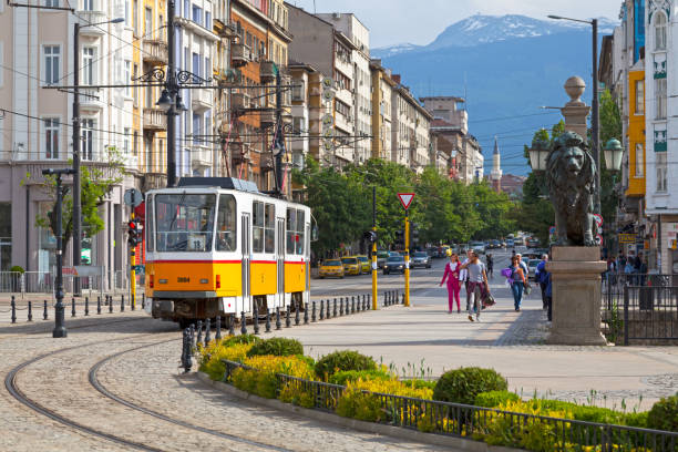 Tramway in Sofia stock photo