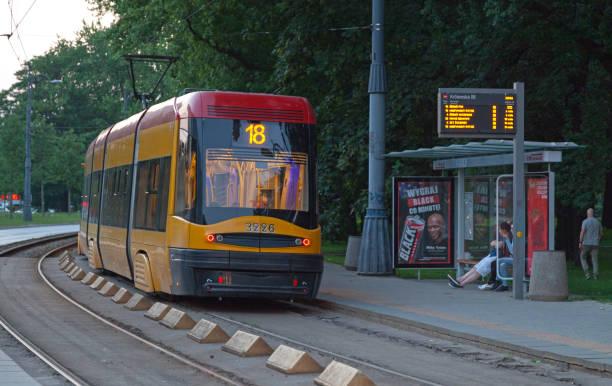 Tramway in Warsaw stock photo