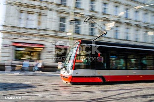 Tramway motion blur in Prague during day of springtime