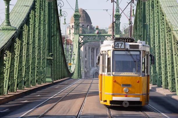 tramway on the freedom bridge over the danube river in budapest. in the background the gellert baths. - linea tranviaria foto e immagini stock