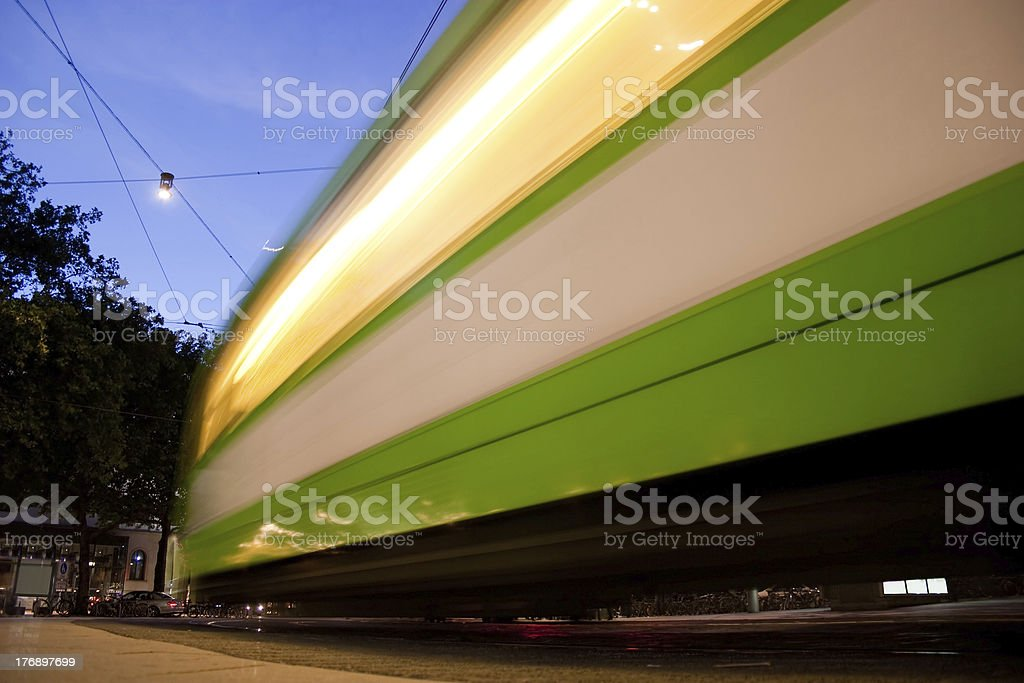 Tramway on the move stock photo
