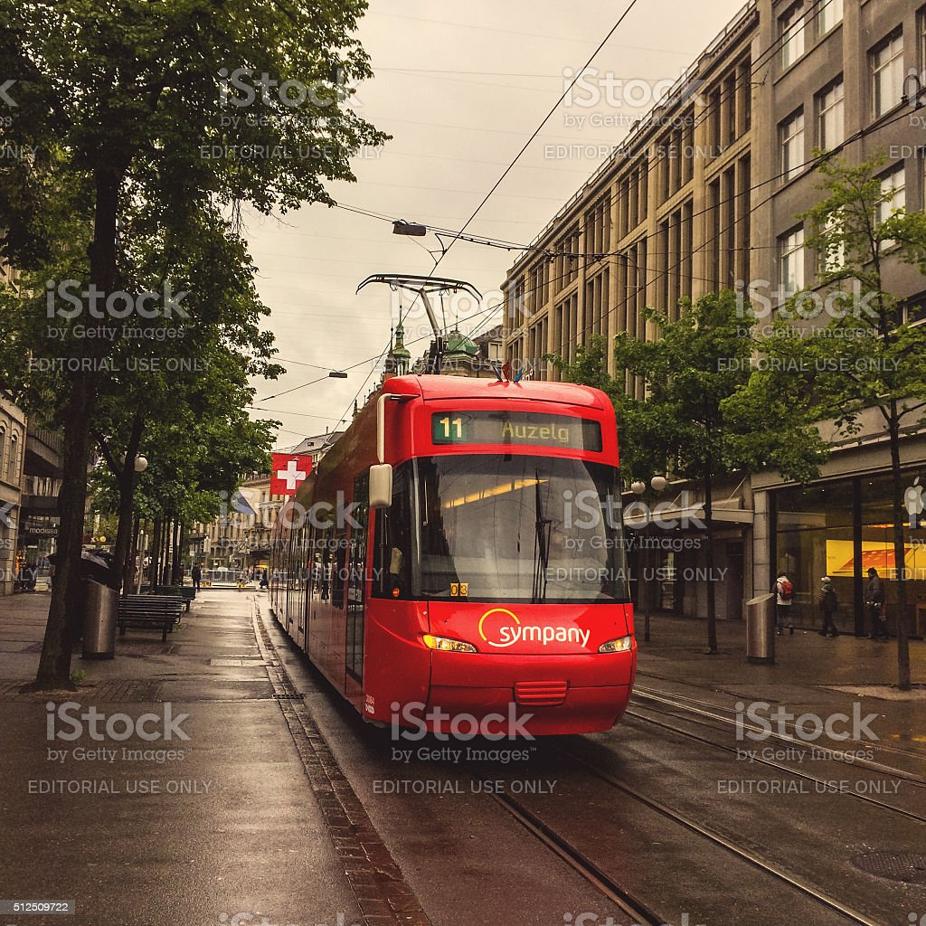 Tramway on Zurich street in a rainy day stock photo
