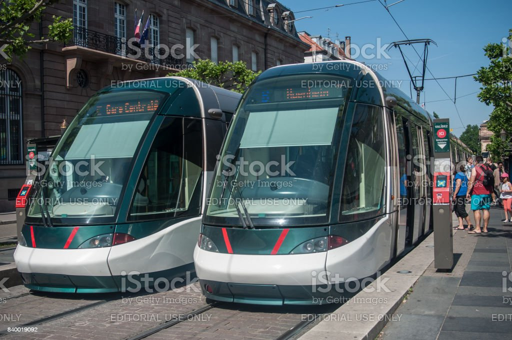 tramway station at Broglie place in Strasbourg stock photo