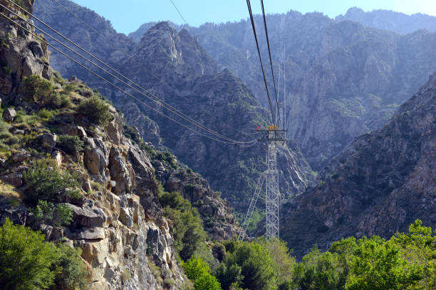 tramway structure in palm springs under mount san jacinto which is an engineering marvel, and carries passengers from the desert into the mountains, california - linea tranviaria foto e immagini stock