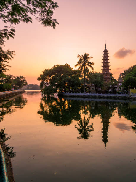 Tran Quoc Pagoda, West Lake, Hanoi, Vietnam stock photo