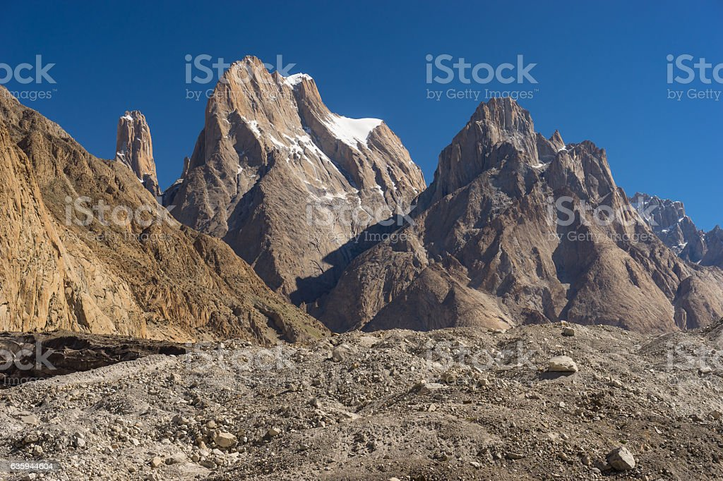 Trango tower cliff and Cathedral tower, K2 trek, Skardu,Gilgit,Pakistan stock photo