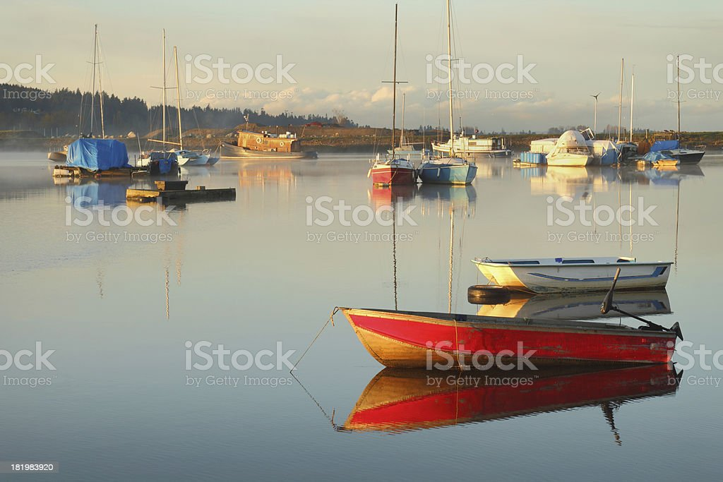 Tranquil Anchorage, Nicomekl River, British Columbia royalty-free stock photo